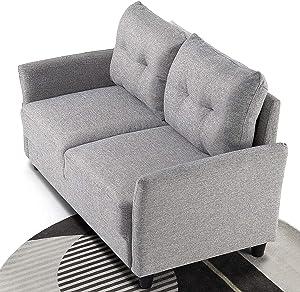 ZINUS Ricardo Loveseat Sofa / Tufted Cushions / Easy, Tool-Free Assembly, Soft Grey