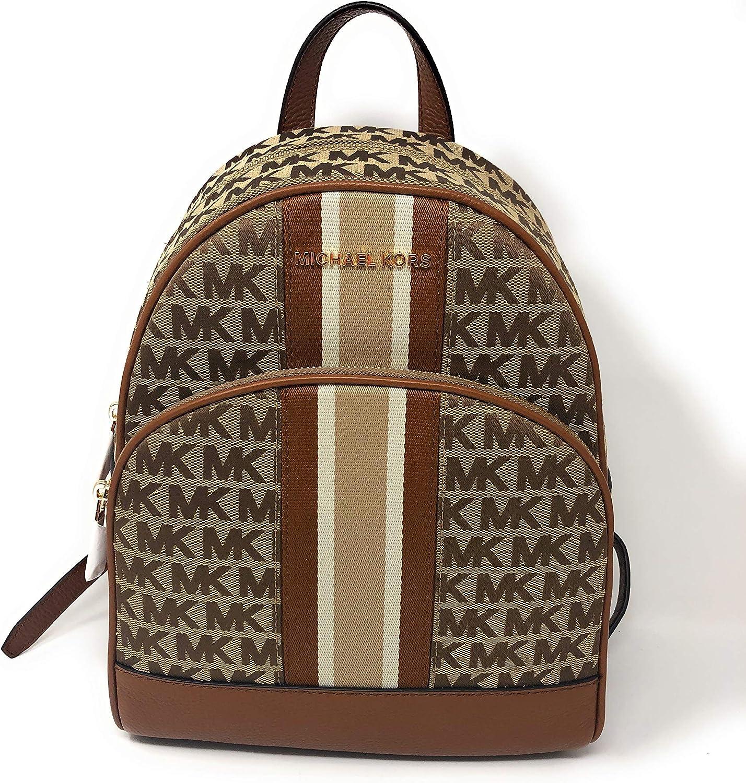 Michael Kors Abbey Medium Backpack in Signature BeigeEbony