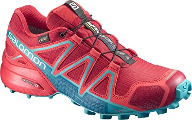 Salomon Speedcross 4 GTX Damen Trailrunning-Schuhe, Rot (Barbados Cherry/Poppy Red/Deep Lagoon), 40 2/3 EU