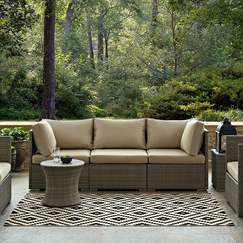 Modway Perplex Geometric Diamond Trellis 8x10 Indoor And Outdoor In Black And Beige Furniture Decor