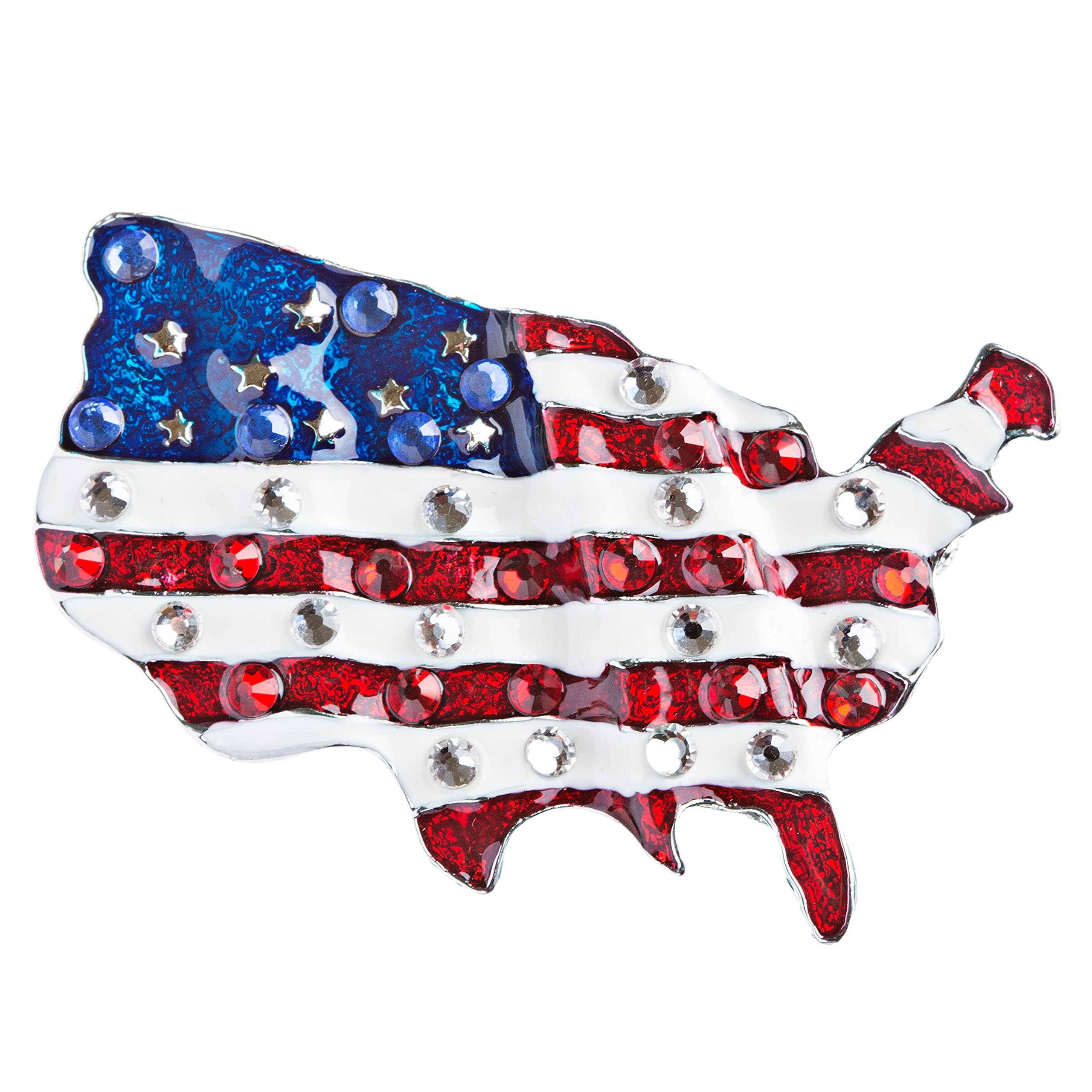 ACCESSORIESFOREVER Patriotic Jewelry Crystal Rhinestone American Flag Charm Brooch Pin BH84 Silver