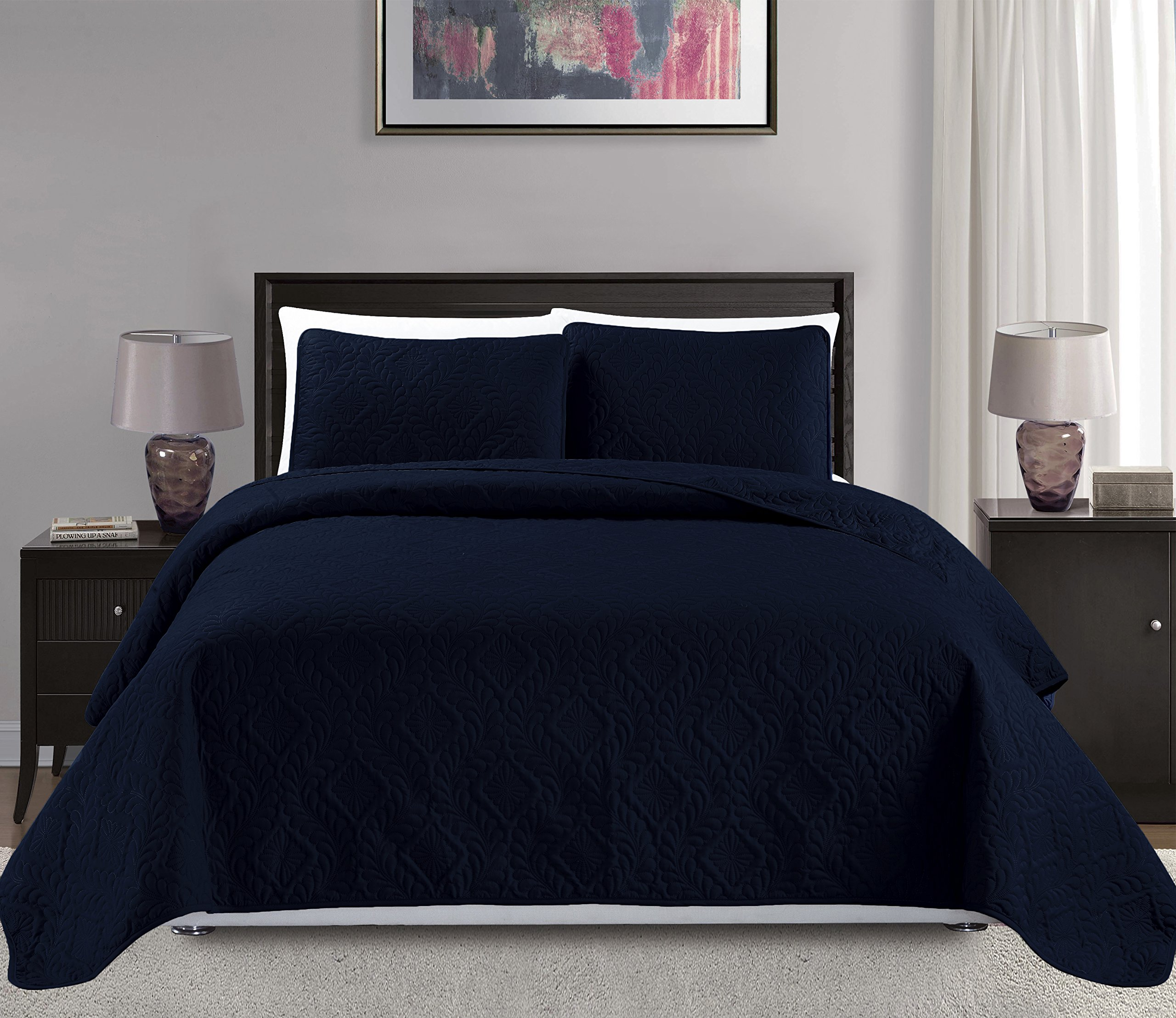 Mk Collection King/California king over size 118''x106'' 3 pc Diamond Bedspread Bed-cover Embossed solid Navy Blue New