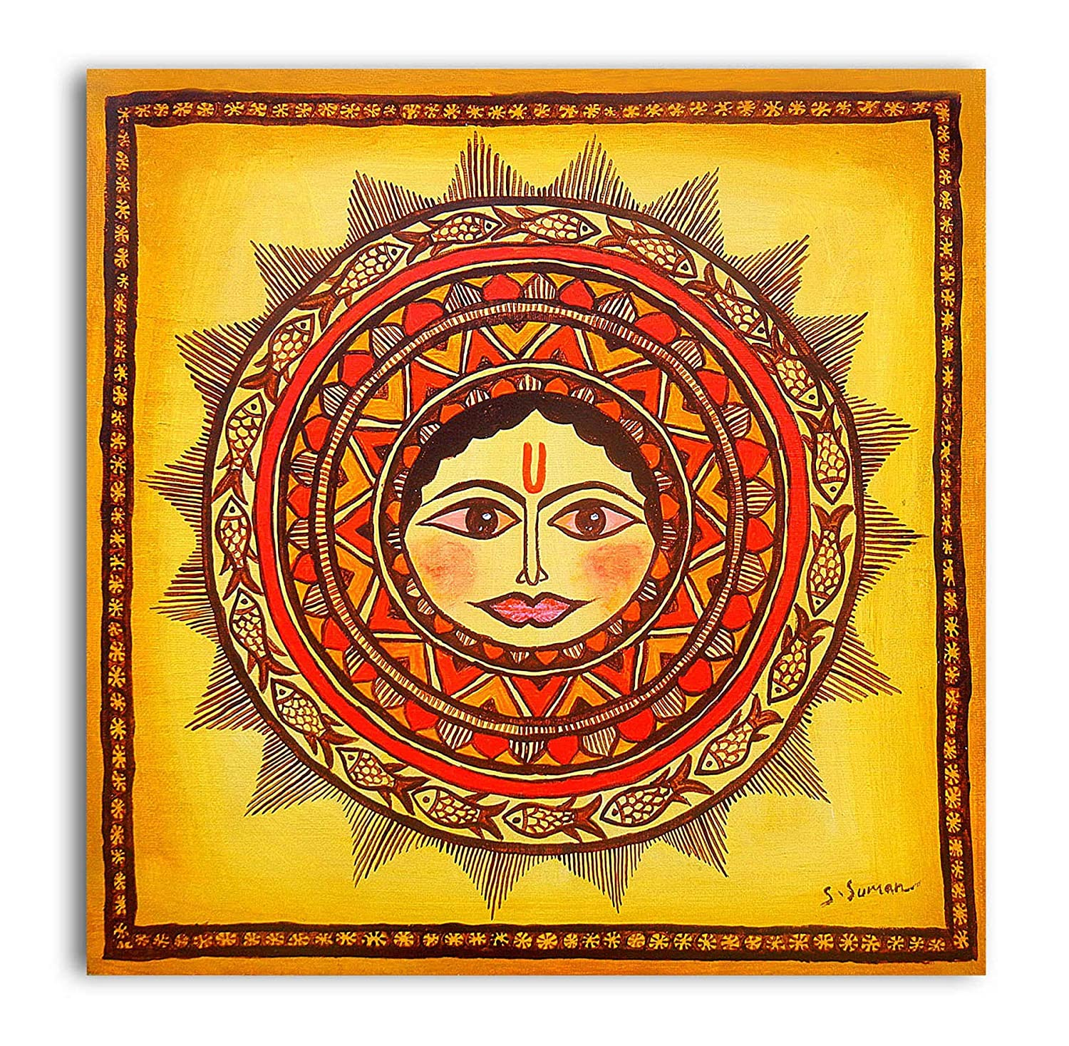 Tamatina canvas paintings the sun god surya dev modern art