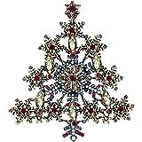 EVER FAITH Crystal Winter Snowflake Wishing Tree Brooch