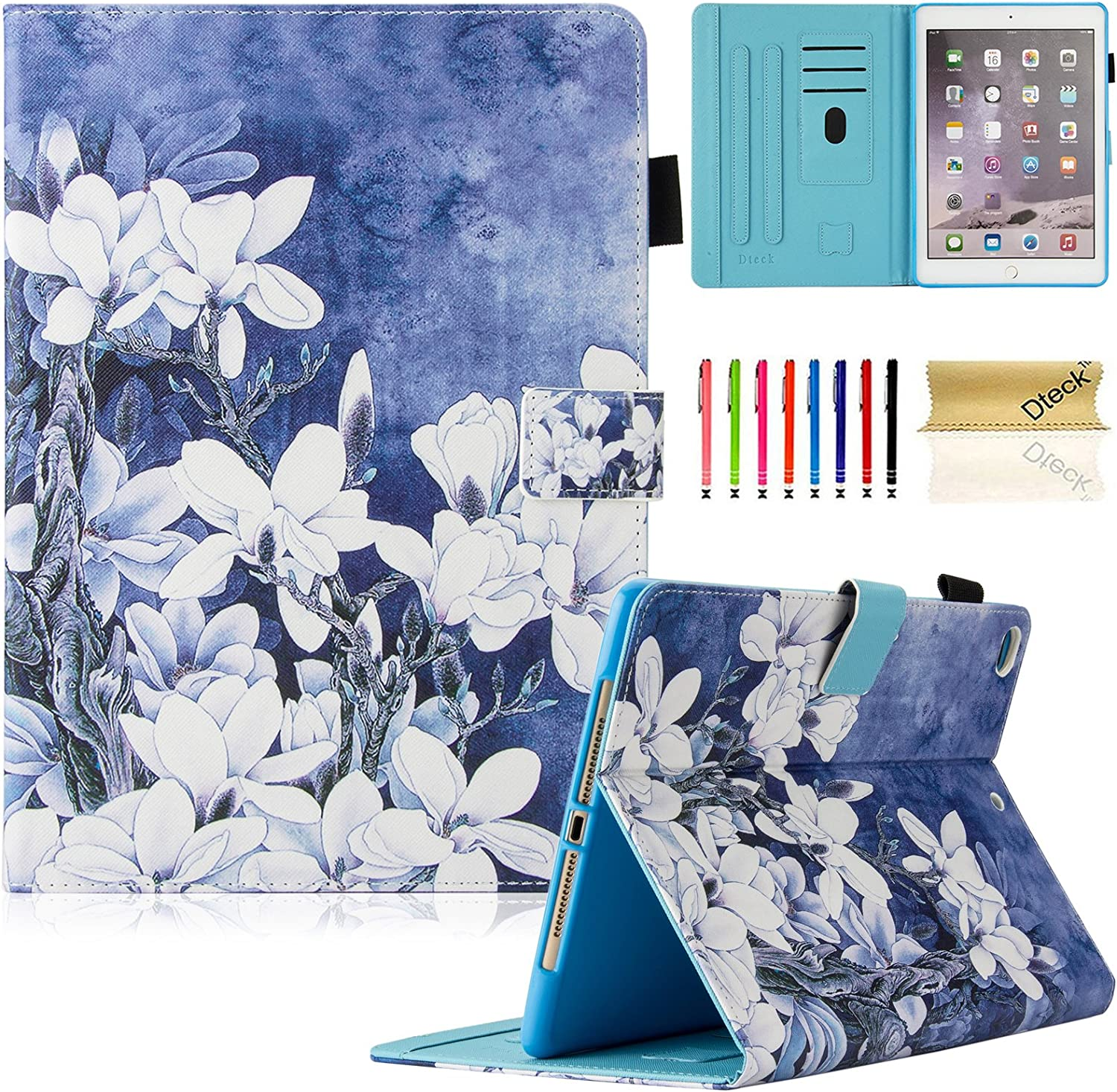 Dteck iPad 9.7 inch 2017 2018 Case/iPad Air Case/iPad Air 2 Case - Multi-Angle Viewing Auto Wake/Sleep Folio Smart Cover Stand Wallet Case for iPad 2017/2018 iPad 9.7 Inch,iPad Air 1 2,White Flower