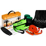 flybold Slackline Kit with Training Line Tree Protectors Ratchet Protectors Arm Trainer 57 feet Easy Set up Instruction…