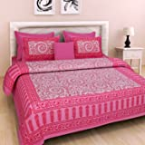BedZone 144 TC 100% Cotton Rajasthani Jaipuri Double Bedsheet with 2 Pillow Covers - Pink - (Double)