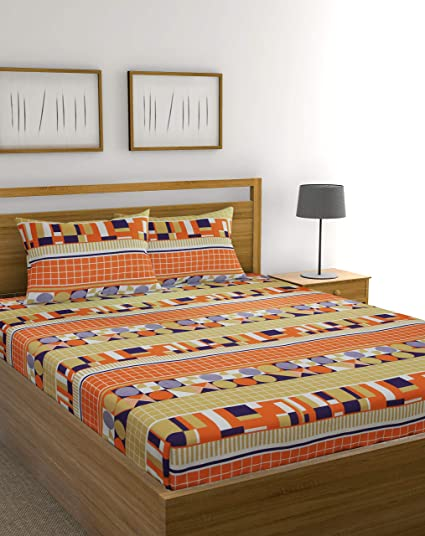 Raymond Home 104 TC Cotton Double Bedsheet with 2 Pillow Covers - Multicolour
