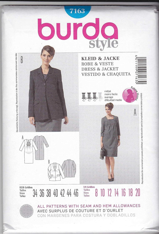 d715fa993 Burda 7163 premamá Smokeinsatz con patrón de costura para vestido de mujer
