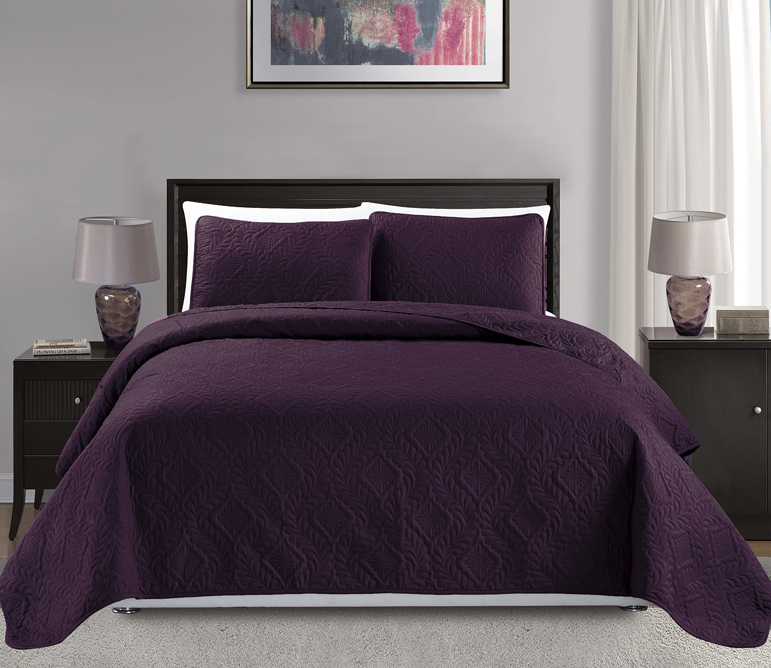 Mk Collection King/California king over size 118''x106'' 3 pc Diamond Bedspread Bed-cover Embossed solid Dark Purple New