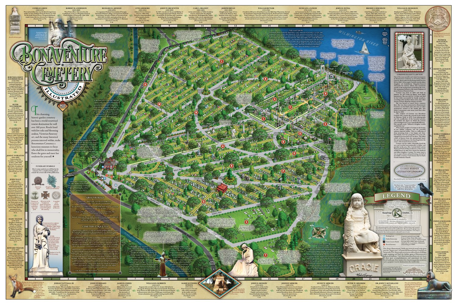 Bonaventure Cemetery Map Bonaventure Cemetery Illustrated Map: Michael Karpovage, Cassidy