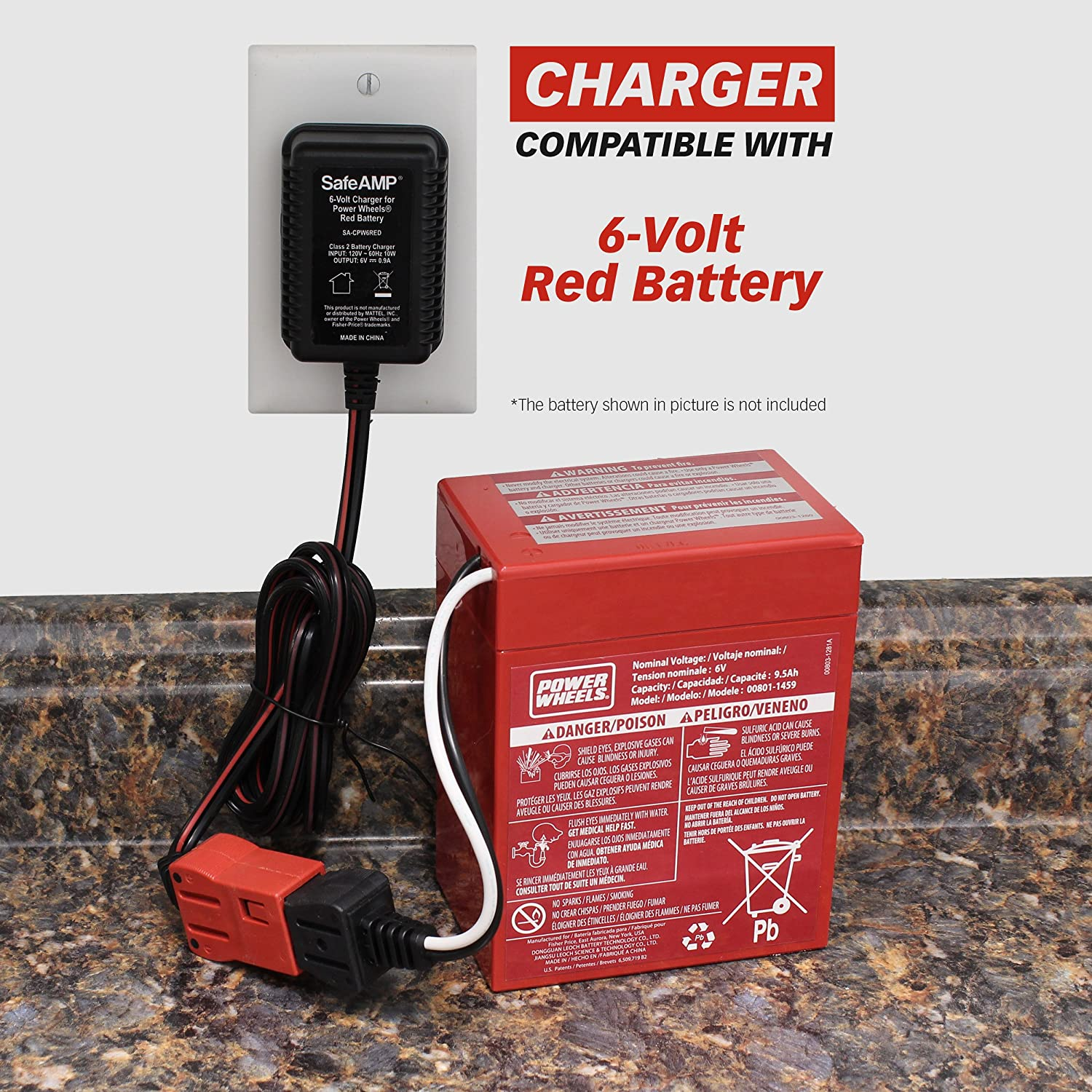 Safeamp 6 Volt Charger For Fisher Price Power Wheels Red Two Batteries In Series Will Give You A 12v Circuit This Battery Toys Games
