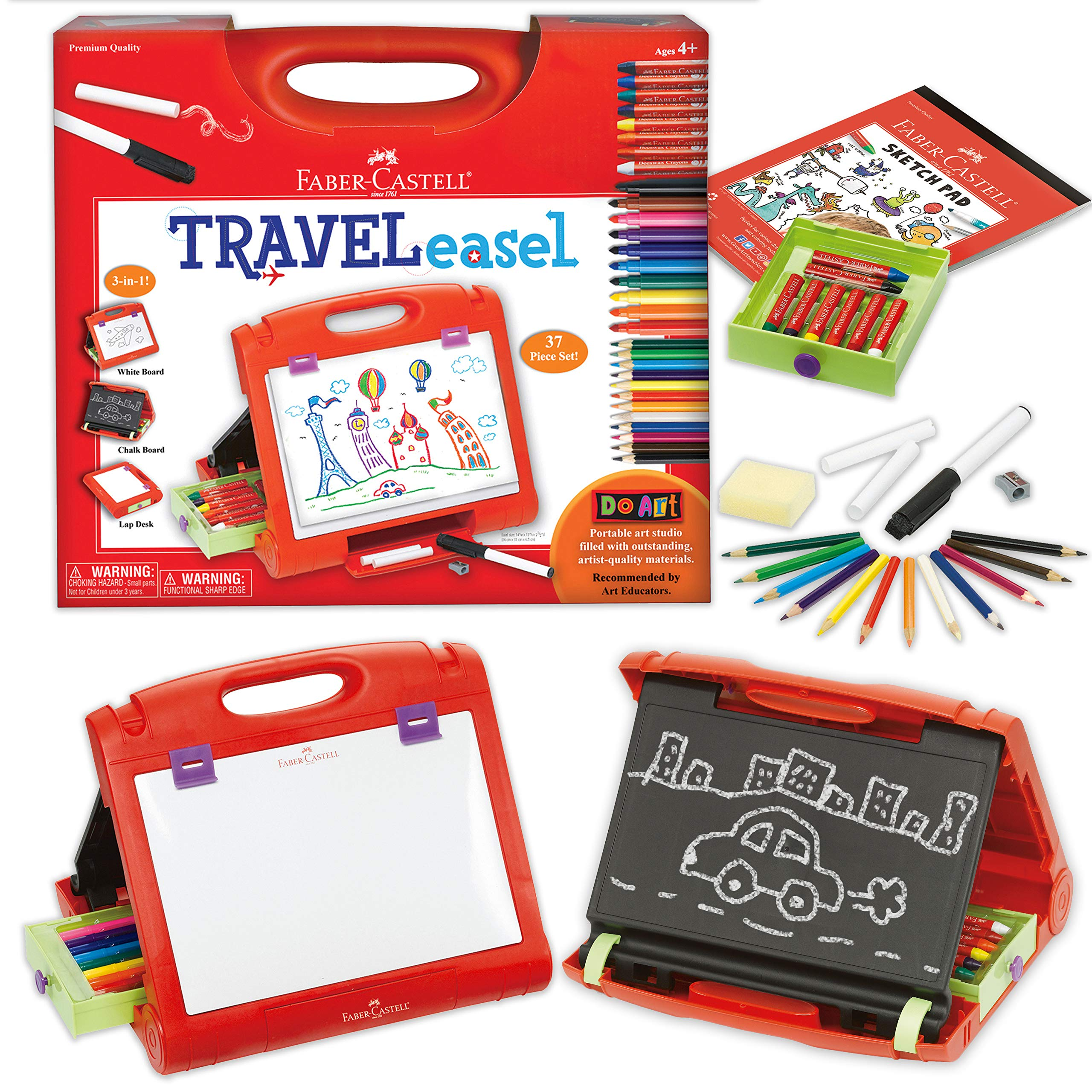 Faber-Castell Do-Art 3-in-1 Travel Easel - 30 Piece Tabletop Easel for Kids with Art Supplies, Multicolor