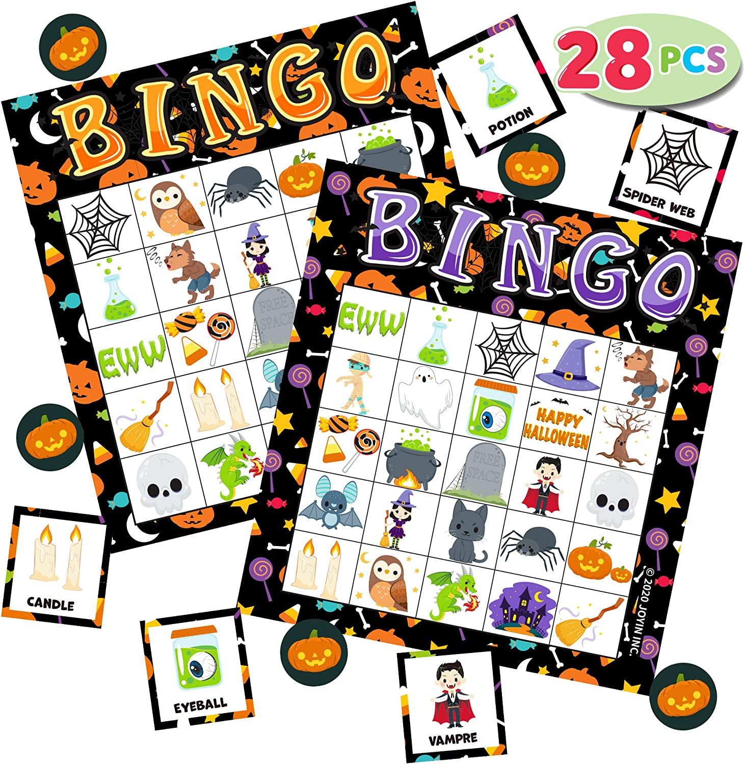 Family Activity Trick or Treating for Kids Halloween Party Card Games Halloween Party Favors Supplies School Classroom Games 28 Halloween Bingo Game Cards 5X5