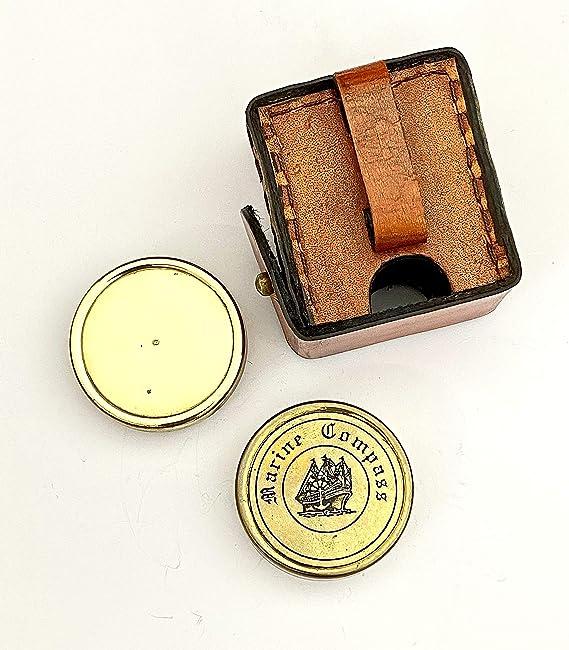 Boussole de poche Robert Frost en laiton avec po/ème et /étui en cuir