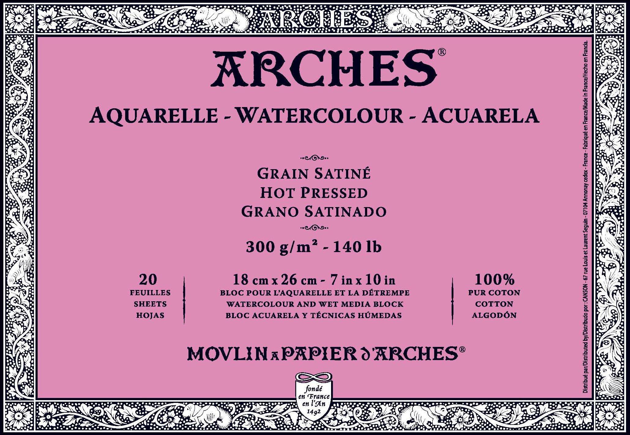 Arches Watercolor Block, Hot Press 7''X10''