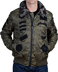5d8f405697 Men's Camo Patched Bomber Jacket with Faux Fur Collar from X-Ray Jeans