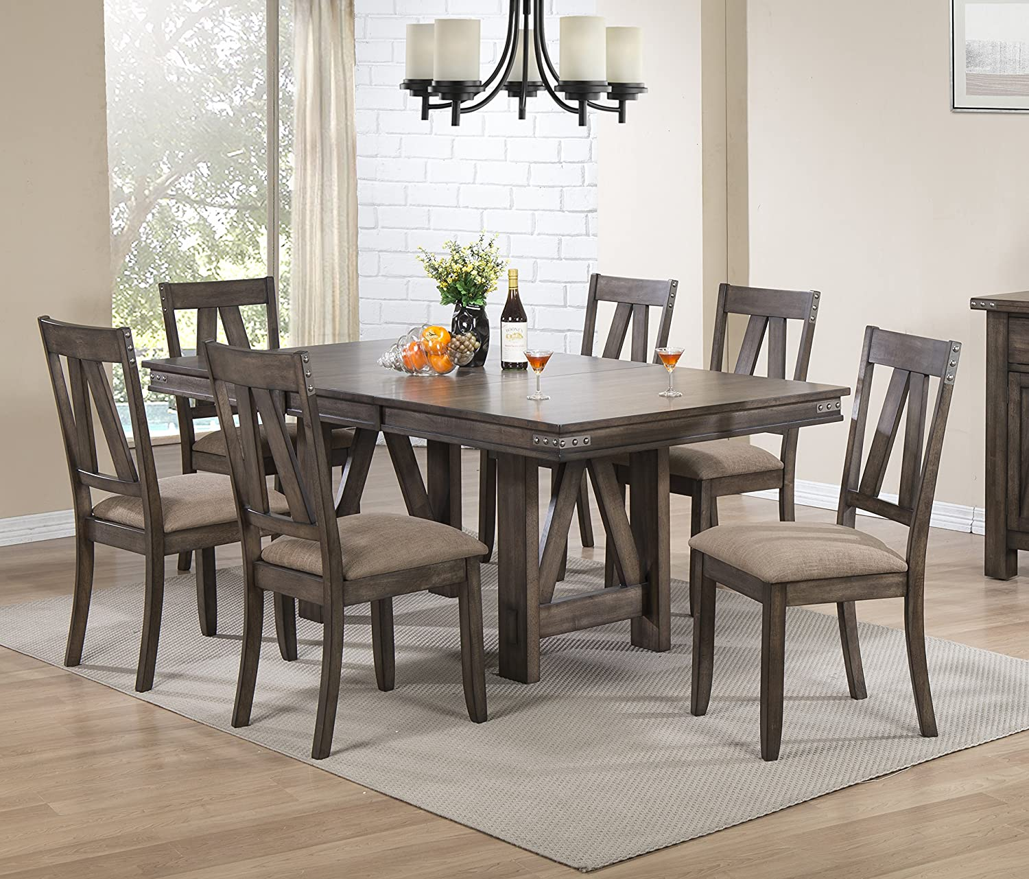 Kings Brand Furniture 7 Piece Lynn Brown Wood Rectangle Dining Room Table & 6 Chairs