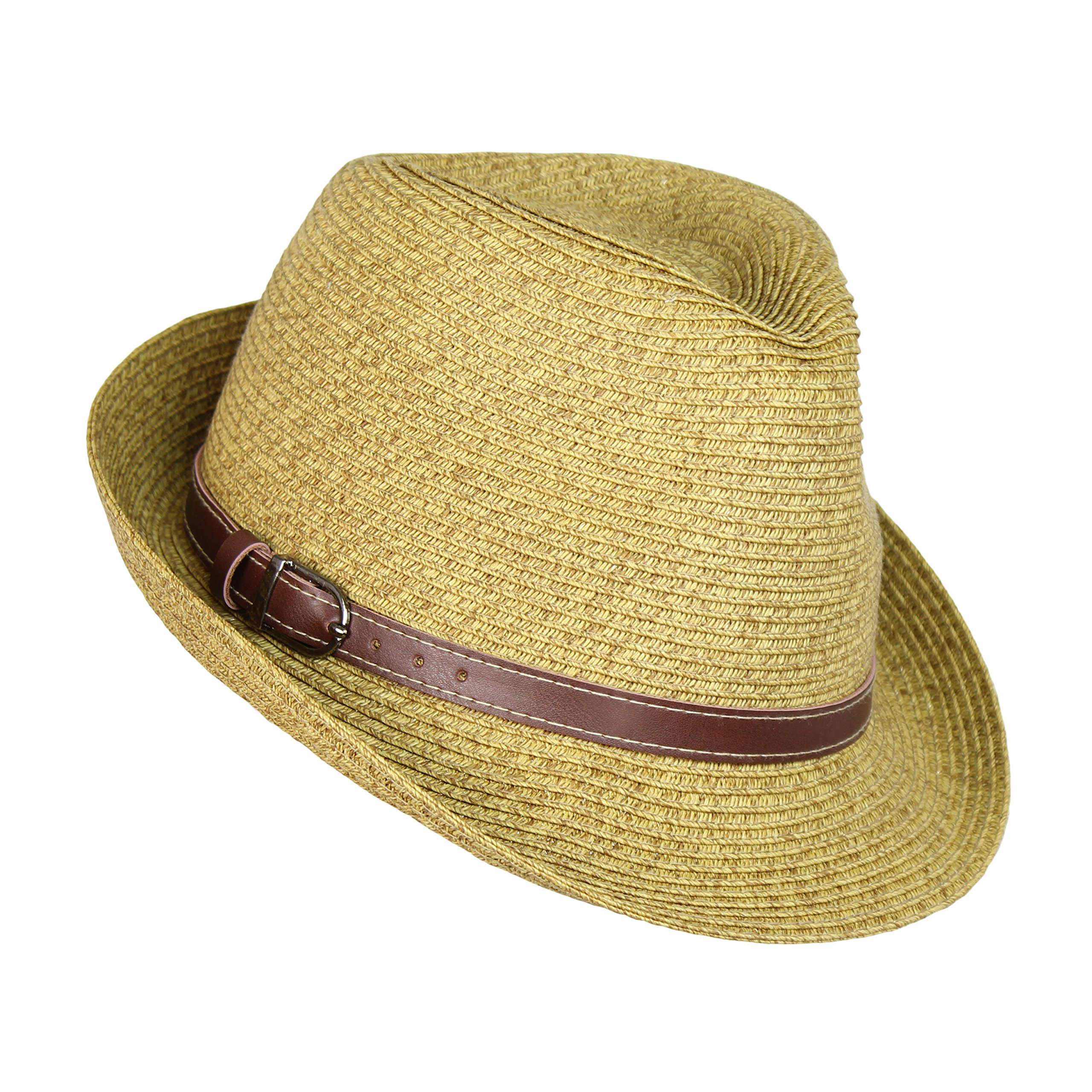 Straw Panama Hat, Tweed Festival Fedora with Faux Leather Hatband, Packable (Natural Tweed)