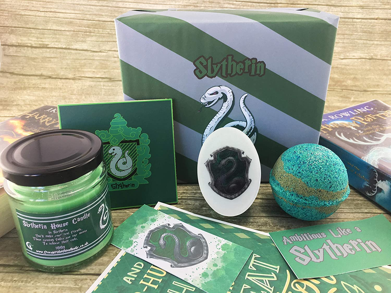 Harry Potter Gift - Slytherin House Gift Set - Hogwarts Wizard - Handmade Bath Bomb - Candle - Handmade Soap - Free Spirit Bath and Body