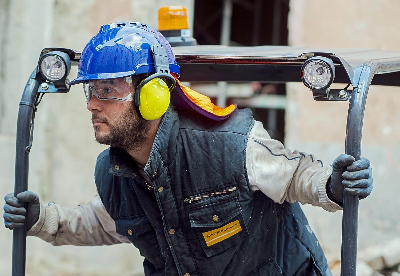 MSA V-Gard 930 | Casco de Seguridad Industrial | DIN EN 397 | con Ventilación y con Suspensión de Rueda de Cremallera Fas-Trac | Incluyendo Gafas | ...