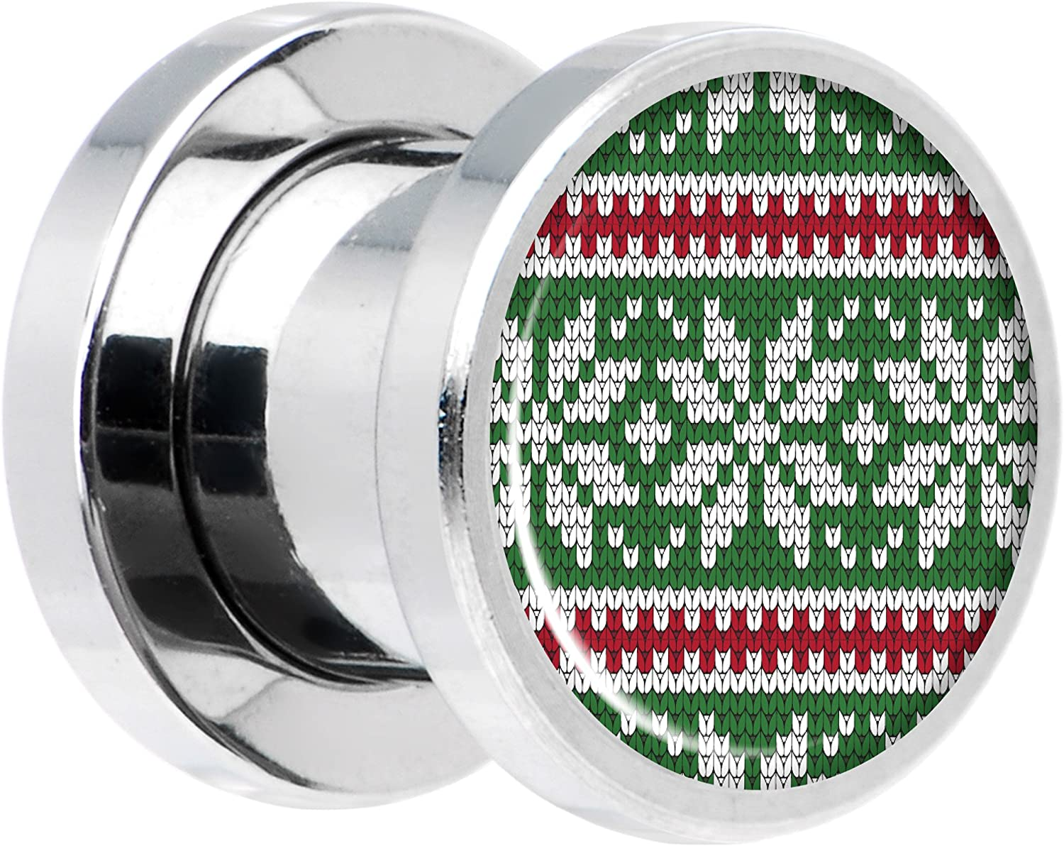 Body Candy Black Anodized Steel Christmas Retro Santa Ho Ho Ho Screw Fit Plug Set of 2 5mm to 20mm