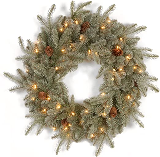 National Tree 24 Inch Feel Real Frosted Artic Spruce Wreath With Cones And 50 Clear Lights Pefa1 307 24w 1 Home Kitchen