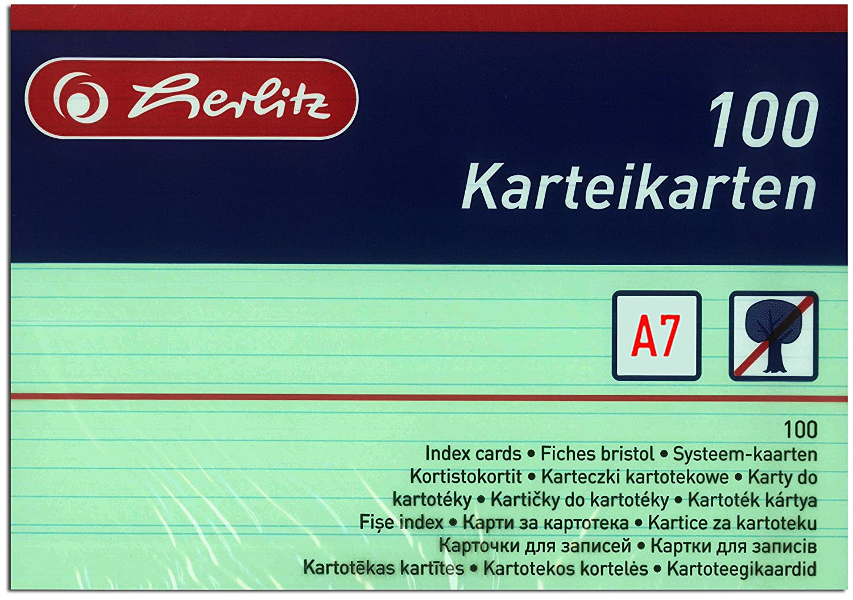 DIN A5 weiss VE= kariert herlitz-10621290- Karteikarten