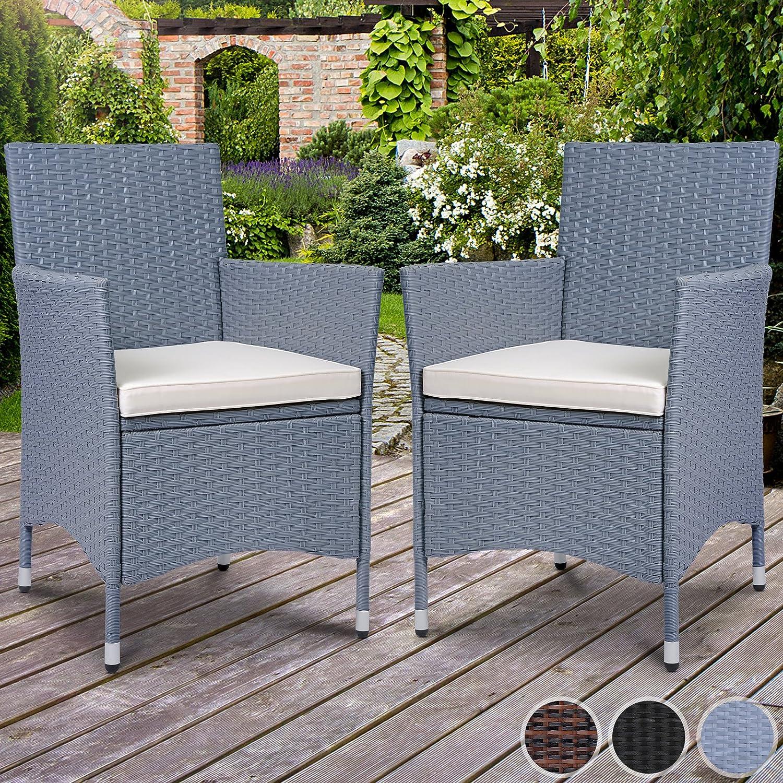Miadomodo Set di 2 sedie poltrone da giardino esterno in polyrattan con cuscino ca. 59/58/84 cm colore grigio RTSTL005B0gr02ER