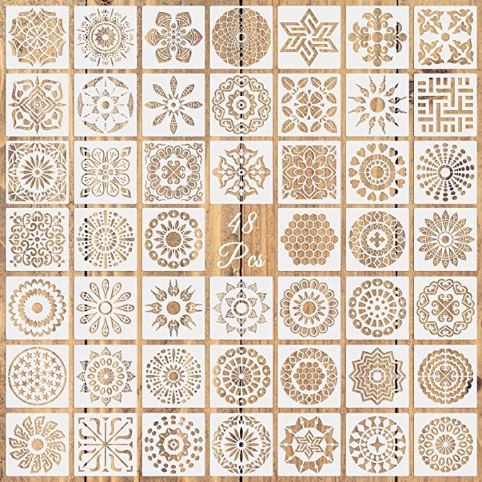 3.5x3.5inch 36 Pack Mandala Stencils Template Set/£/¬Hilypink Mandala Dot Painting Templates Stencils for Painting on Wood Airbrush Walls and Art DIY Painting Art Projects