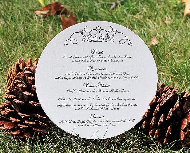set of 10 elegant flourish circle menu cards for wedding baptism christening bridal