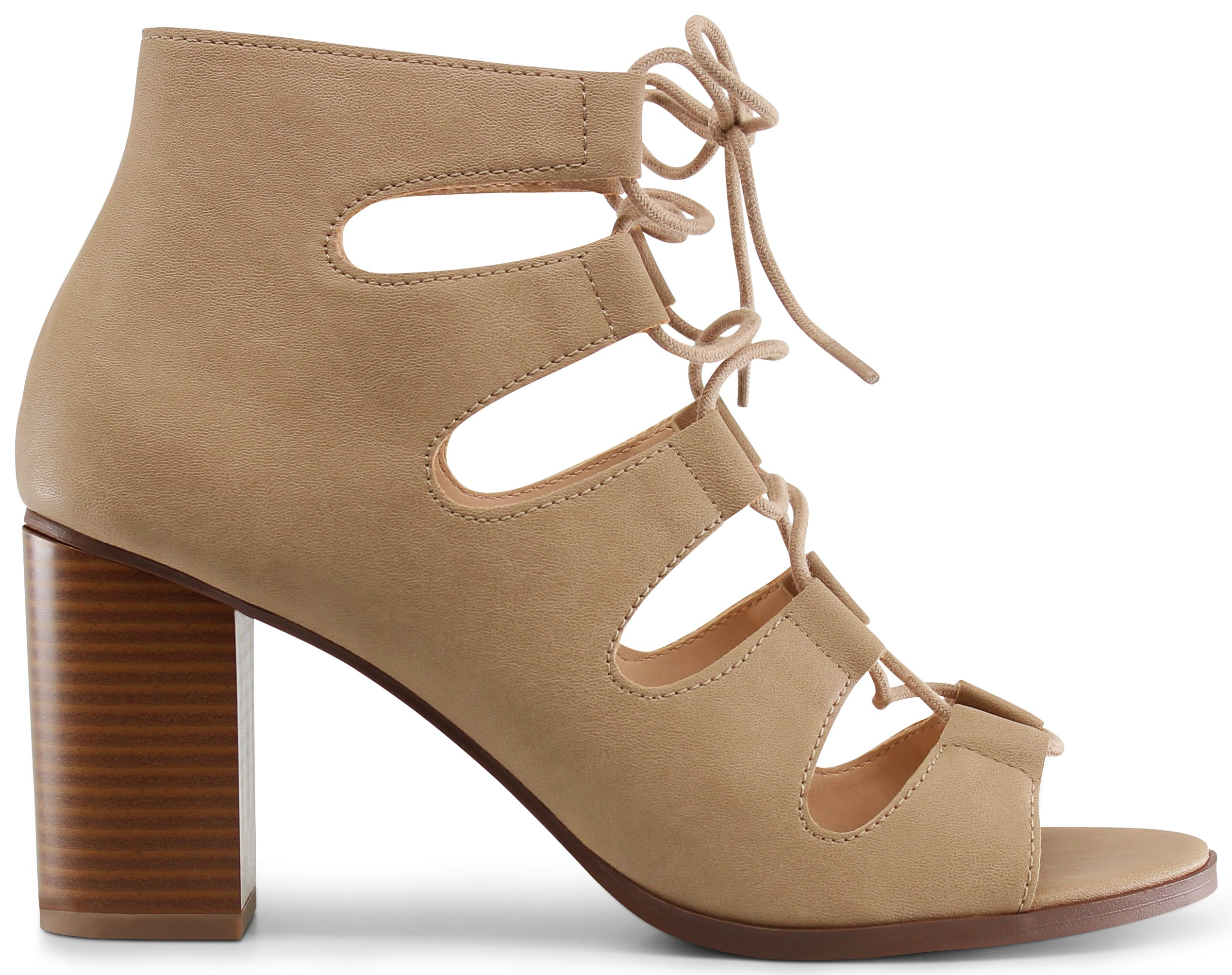 Marco Republic Edinburgh Peep Toe Gladiator Chunky Block Stacked Heels Sandals Pumps Booties - (Taupe PU) - 8