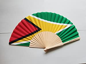 Fans Of Our Nation Guyana Flag Fabric Folding Hand Fan with Bamboo Handle