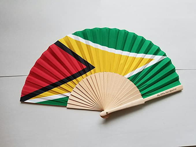 Amazon Guyana Flag Fabric Folding Hand Fan With Bamboo Handle Garden Outdoor