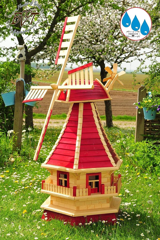 XL de molinillos XXL molino de viento de madera, diseño de jardín Molino de viento 130 cm, einstöckig clásico con borde de balcón WMS de ra130 de ro de OS Rojo Ventana,