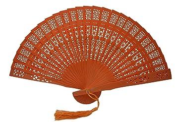 Dark Orange Wooden Hand Fan Party Fans Womens Ladies Hand Held Fan With A Tassel