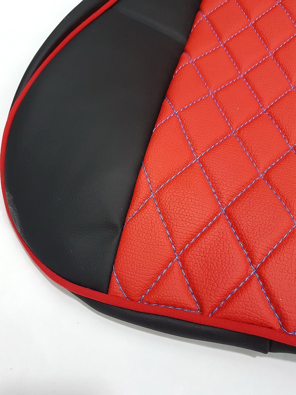 Protectores de alta calidad para asientos de cami/ón Juego de 2 piezas accesorios de decoraci/ón 100/% piel ecol/ógica color negro y rojo