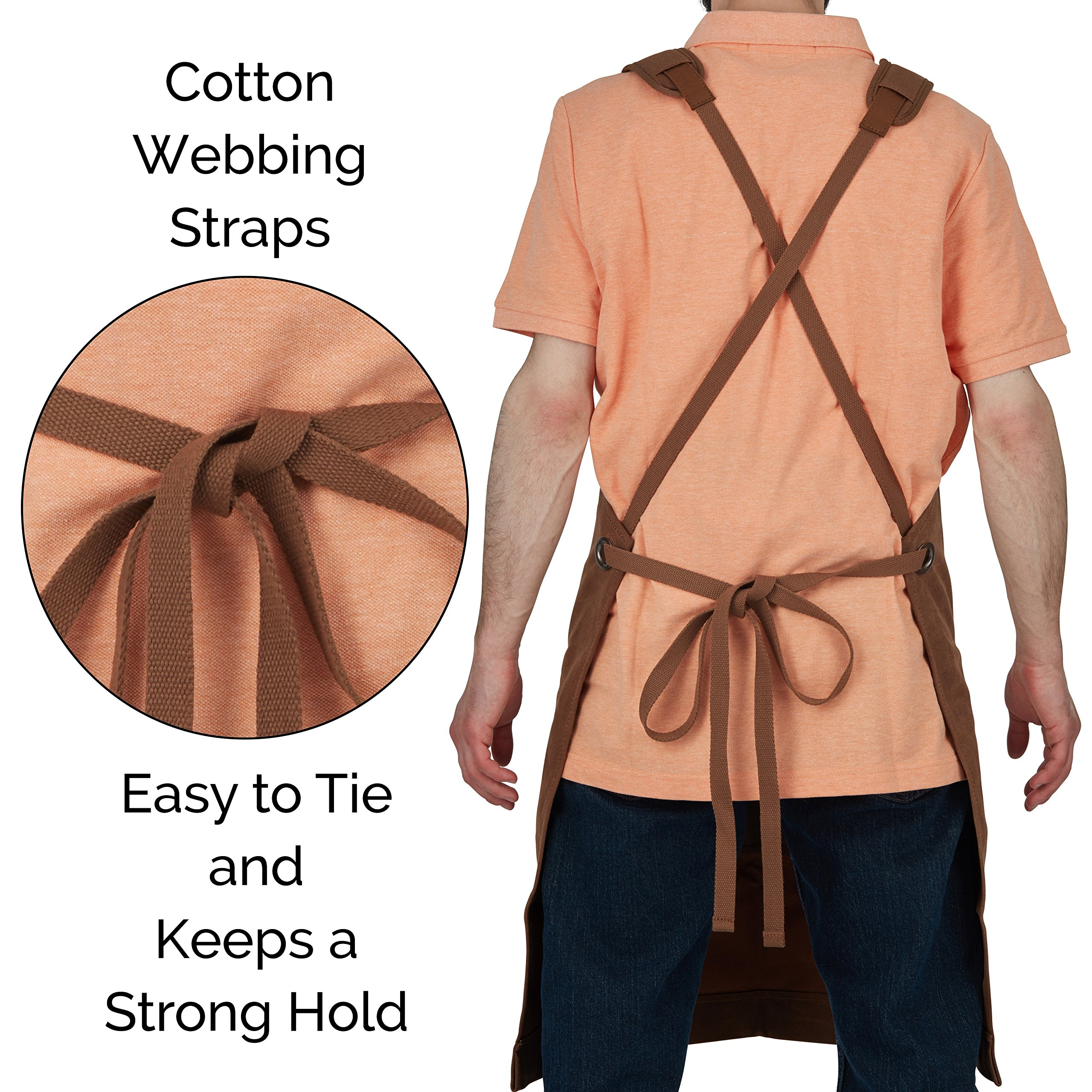 Heavy-Duty Waxed-Canvas Work Apron for Men and Women with Pockets for Tools Cross-Back Straps  – Adjustable from M to XXL (Brown) by Premium Rhino (Image #6)