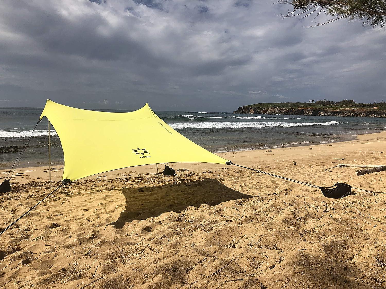 Neso Tente de Plage de Tente de avec l'ancre de Sable, Sunshade portative d'auvent - 2.1m 'x 2.1m - Coins renforcés par Brevet (Color)