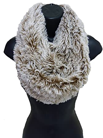 Ladies Women Girls Long Faux Fur Frosted Grey Blac Cowl Snood Soft Winter Scarf