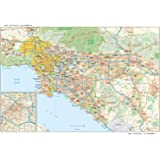 Los Angeles, California Wall Map - 21.75 x 14.5 inches - Paper - Flat Tubed