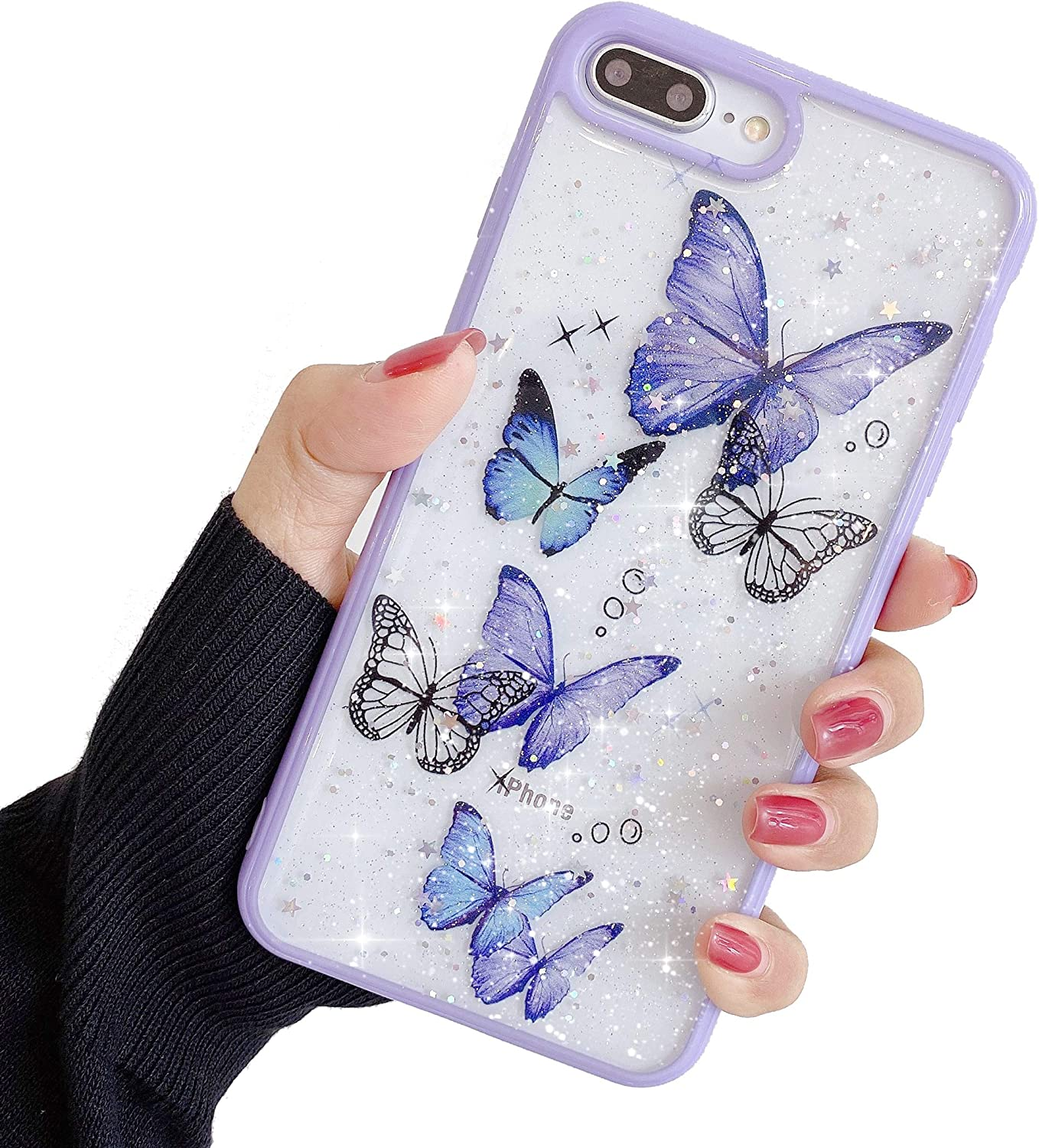 """Compatible with iPhone 6/6s Case for Girls,Soft Slim Fit Full-Around Protective Cute Clear Sparkly Bling Star Butterfly Pattern Phone Case Glitter Cover for iPhone 6/6s 4.7""""-Purple"""