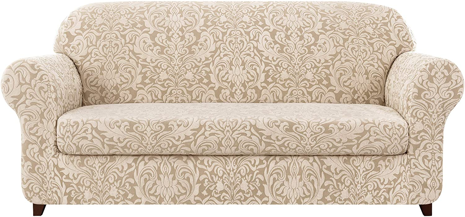 subrtex Sofa Cover Couch Cover 2-Piece Jacquard Damask Christmas Slipcovers for 2 Cushion Couch Stretch Furniture Protector Chair Covers for Living Room Kids, Pets(Large,Linen)