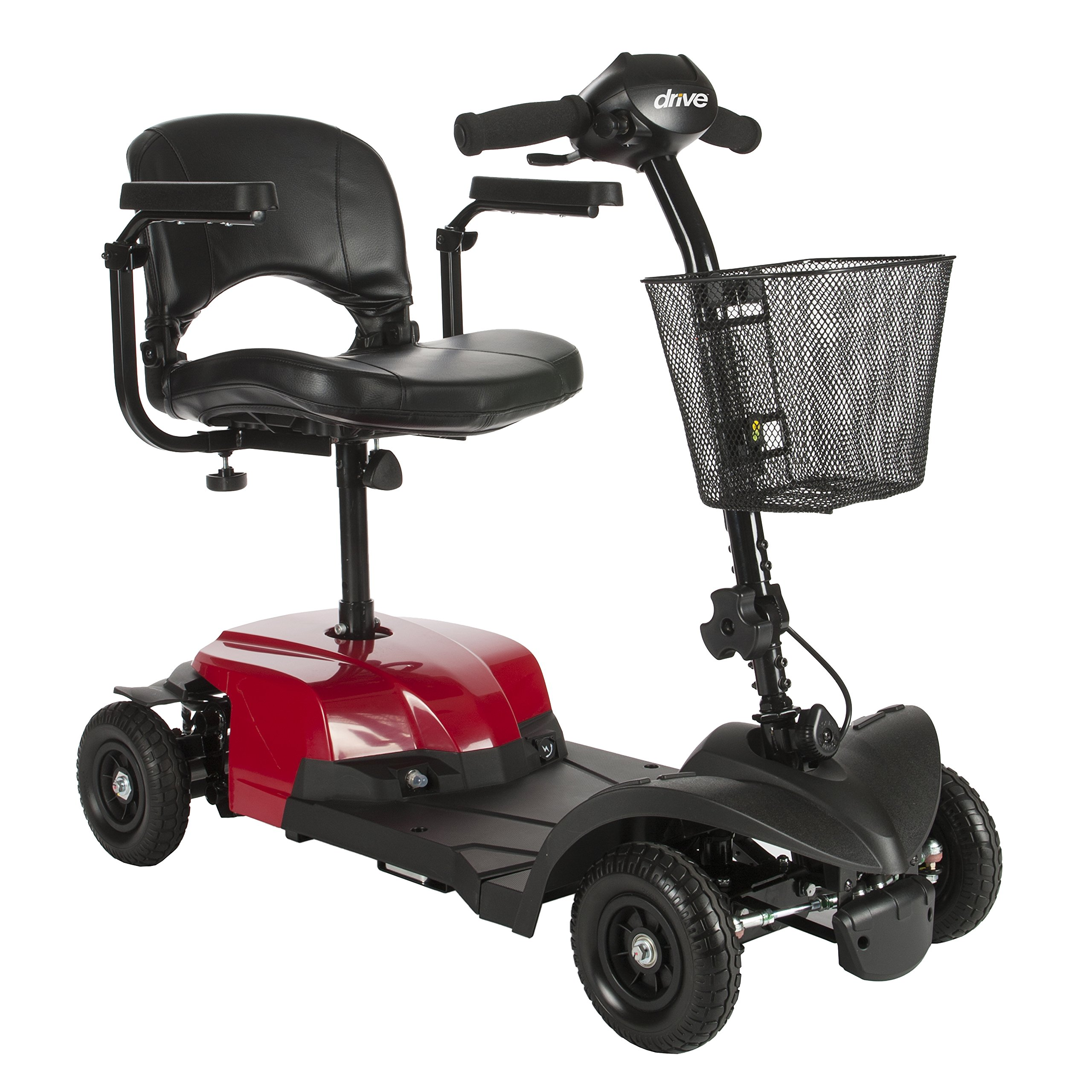 Drive Medical Bobcat X4 Compact Transportable Power Mobility Scooter, 4 Wheel, Red by Drive Medical