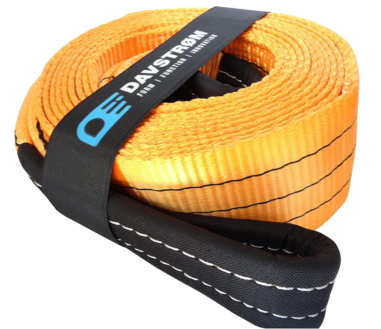 Tow Strap Heavy Duty Recovery - 35,000lbs [17.5 US TONS] Davstrom Premium Towing Rope Alternative, 20 Feet x 3.5 Inches, Reinforced Connection Loops. On-road Off-road, Winch Retrieval, Mud, Snow, Sand