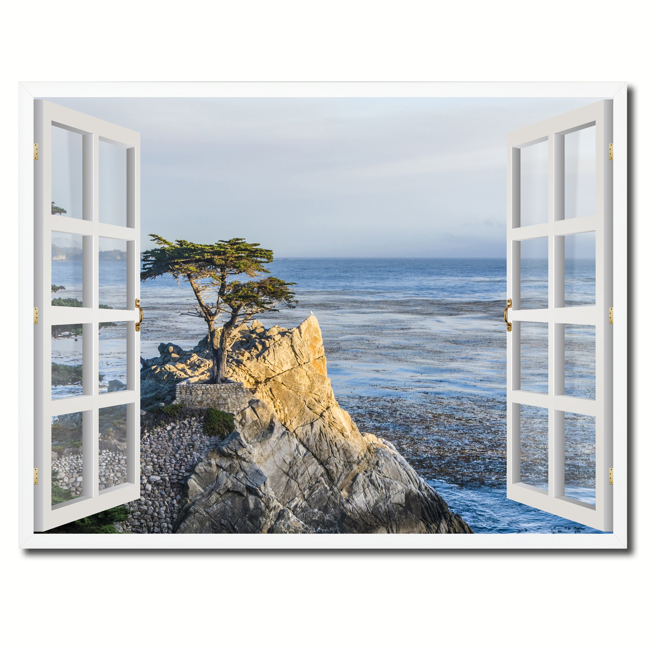 SpotColorArt FRENCHWINDOWH-23021W2229 Handcrafted Framed Canvas Print by SpotColorArt