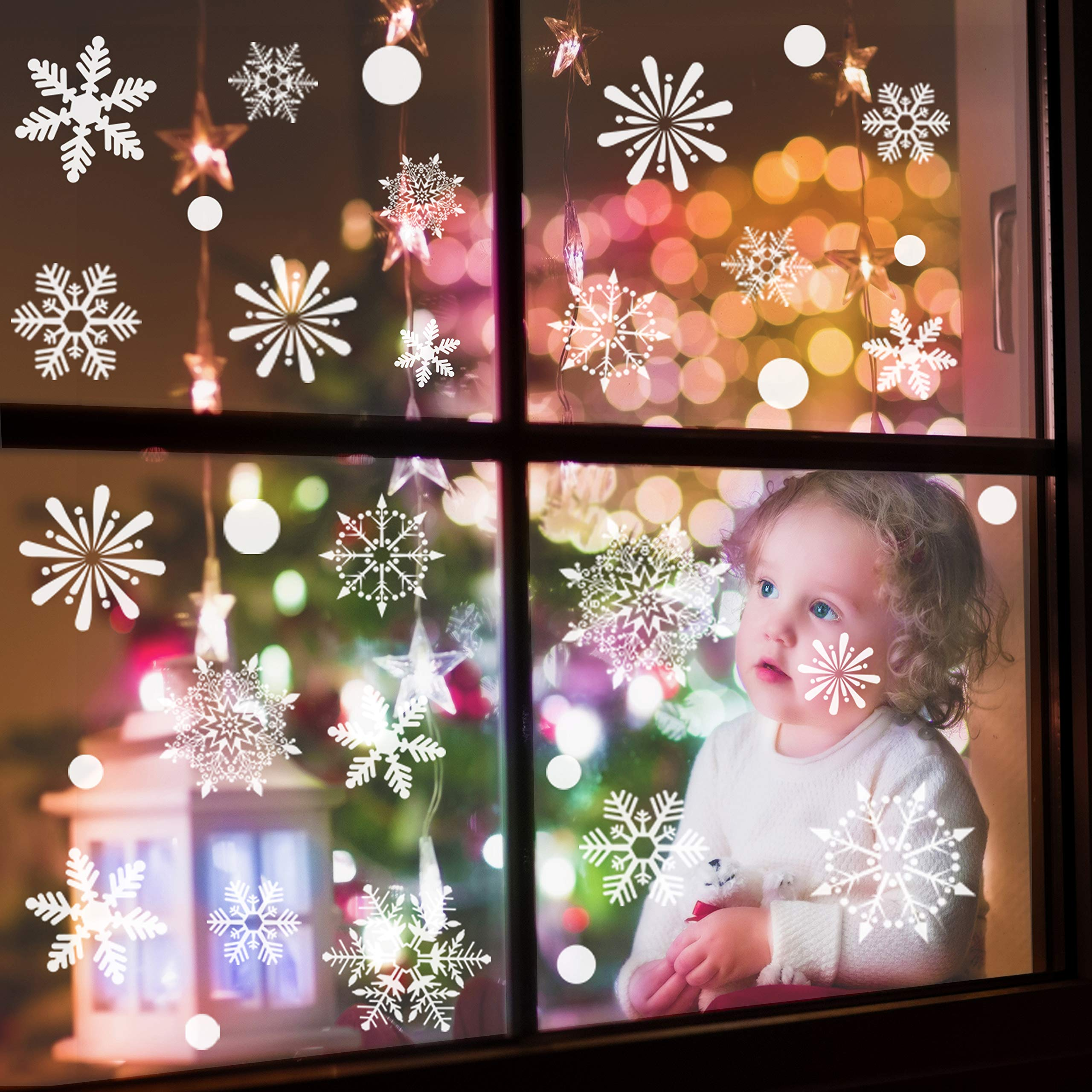 Sinceroduct Christmas Decorations Window Clings Decal,108 Piece White Snowflake Decorations,Christmas Window Stickers for Kids,Wedding Birthday Holiday Party Decorations Supplies.