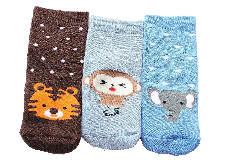 Baby Boys Girls Winter Thick Cotton Socks Pack of 3 Animal Theme Tiger Monkey Elephant