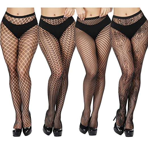 3f44b774af TGD Women's Fishnet Stockings Tights Sexy Suspender Pantyhose Thigh High  Stocking 4 Pairs-Style4