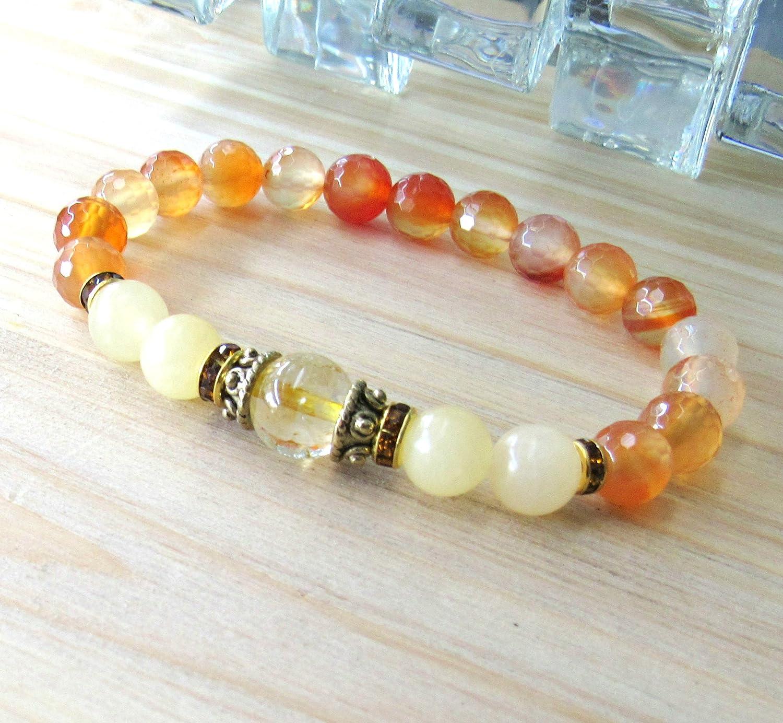 Reiki charged Wisdom and trust meditation Citrine bracelet with Calcite and Carnelian crystal healing beaded gemstone bracelet